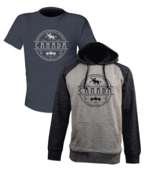 charcoal t-shirt being overlapped by a gray hoodie