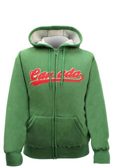 green & cream white hoody with canada embroidered on the front in red
