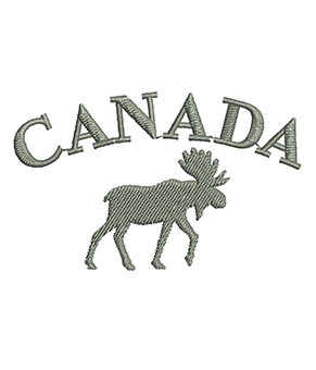 moose with canada written above in a curved line
