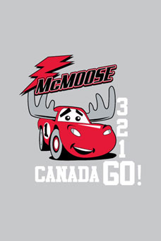 lightning McQueen from disney's cars with moose antlers with lightning bolt on top and Mcmoose writing  & 1,2,3 go canada on the side and underneath