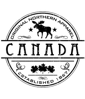 circular design resembling a coin with canada written in the center and a moose icon above